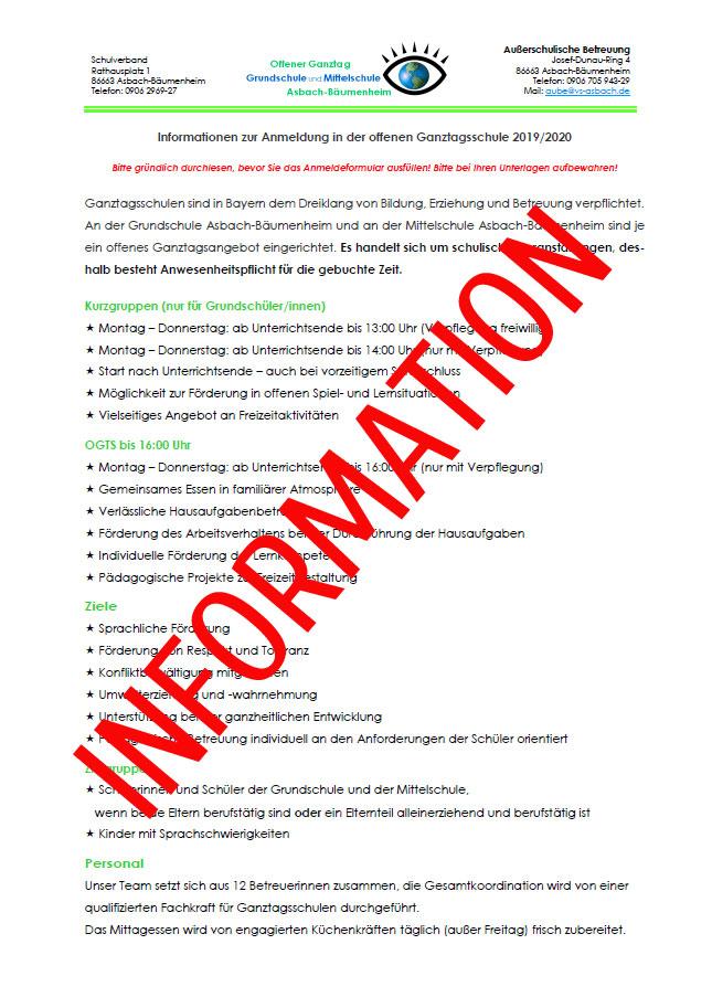 Informationsblatt zur Offenen Ganztagsschule